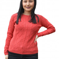 Pulover tricotat  Iullia cu model rafinat ,nuanta de caramiziu