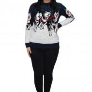 Pulover tricotat Paula,model cu lupi,bleumarin