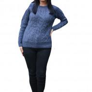 Pulover tricotat Senna,model 3D,bleumarin