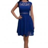 Rochie albastra cu dantela, croi evazat, model elegant, de ocazie