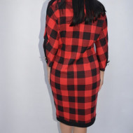 Rochie casual Blanco din tricot cu patratele,rosu-negru