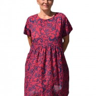 Rochie casual cu imprimeu floral , nuanta de marsala