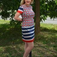 Rochie casual, cu imprimeu geometric rosu-alb-bleumarin