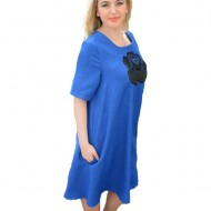 Rochie casual de culoare albastra, model evazat cu buzunare