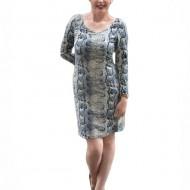 Rochie casual , de culoare bleumarin- bej animal print