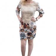 Rochie casual de toamna de culoare bej, cu maneci trei-sferturi