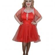 Rochie cu guler din margele, nuanta de rosu, bretele chic