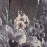 Rochie cu imprimeu floral de nuanta gri cu maneci trei-sferturi
