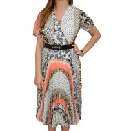 Rochie dama, casual, cu model abstract, multicolor