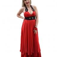 Rochie de gala moderna, in nuanta de rosu aprins, cu insertii negre