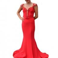 Rochie de gala tip sirena, culoare rosie, cu insertie de tul nud