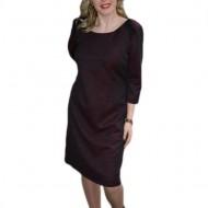 Rochie de iarna masura mare, de nuanta marsala, design simplist
