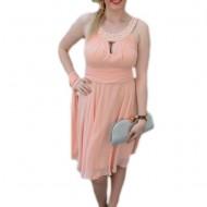Rochie de ocazie in tendinte, culoarea piersicii, masura mare