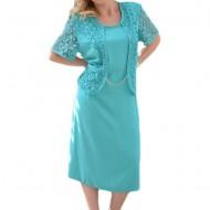 Rochie de ocazie masura mare, de culoare turcoaz cu dantela