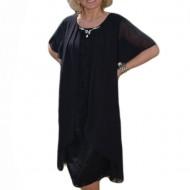 Rochie de ocazie, masuri mari, din dantela si voal culoare neagra