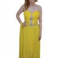 Rochie de ocazie, nuanta galbena, design de volanase in fata
