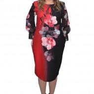 Rochie de ocazie Rebeca,imprimeu cu trandafiri,rosu