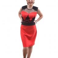 Rochie de ocazie, rosie, masuri mari, cu decolteu la baza gatului