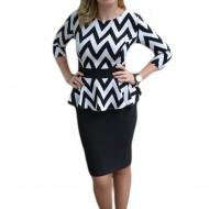 Rochie de ocazie tip costum cu elastic si peplum in talie, negru-alb