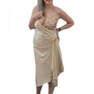 Rochie de seara bej, model asimetric, infrumusetata cu paiete