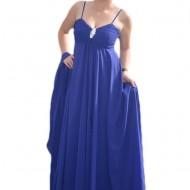 Rochie de seara inedita, model lung, elegant, de un albastru regal