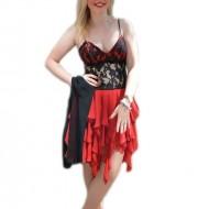 Rochie de seara rosie, design asimetric, cu insertii din dantela neagra