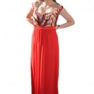 Rochie de seara rosie, masuri mari, cu design creat din paiete