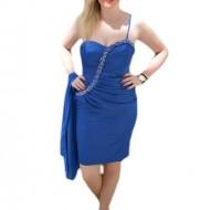 Rochie de seara scurta, pe albastru regal, cu insertii de margele