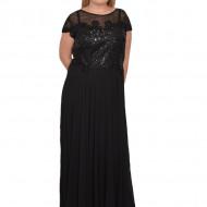 Rochie de seara Tia,aplicatii de strasuri,nuanta de negru