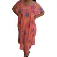 Rochie de vara,Alice vaporoasa, model cu buline colorate,nuanta de corai