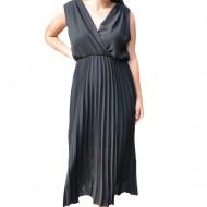 Rochie de vara, Allice lunga, model plisat nuanta de negru