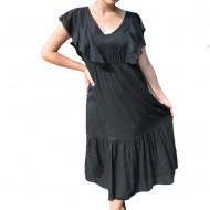 Rochie de vara Ava cu volanase la maneca ,nuanta de negru