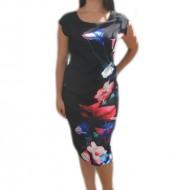 Rochie de vara in nuanta de negru cu imprimeu floral colorat