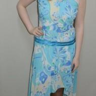 Rochie de vara in tendinte, de culoare albastra combinata cu bej