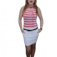 Rochie de vara, nuanta de alb, design dungat chic