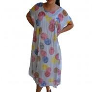 Rochie de vara,vaporoasa,Alice model cu buline colorate,nuanta de gri