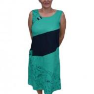 Rochie de zi cu imprimeu,culoare turcoaz