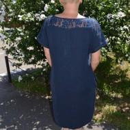 Rochie de zi cu imprimeu modern, culoare bleumarin