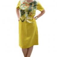 Rochie de zi din in, de culoare galbena cu imprimeu floral