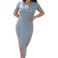 Rochie de zi Gianina cu dungi si crepeu,nuanta de alb-bleumarin