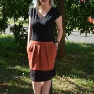 Rochie deosebita de zi, masura mare, portocalie cu maneca scurta