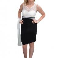 Rochie din dantela rafinata, esarfa fashion, negru-alb