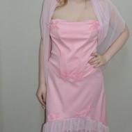 Rochie din fusta si corset, culoare roz, cu design de flori aplicate