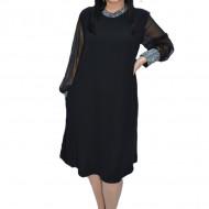 Rochie eleganta Bella cu aplicatii de strasuri,neagra