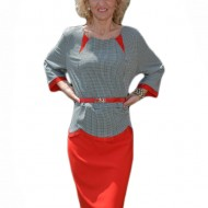 Rochie eleganta cu peplum, cu design pepit si partea de jos rosie