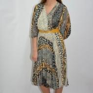 Rochie eleganta, cu pliseuri, model abstract in combinatie de culori