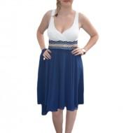 Rochie eleganta, de culoare bleumarin jos si alba in partea de sus