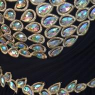 Rochie eleganta ,de culoare neagra, cu top, cu cristale