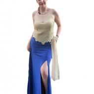 Rochie eleganta, lunga, de culoare albastra, cu slit adanc