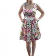Rochie eleganta, multicolora, imprimeu floral si material lucios